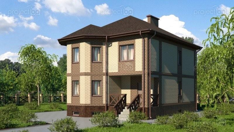 Проект двухэтажного дома с эркером и цокольным этажом 209-C